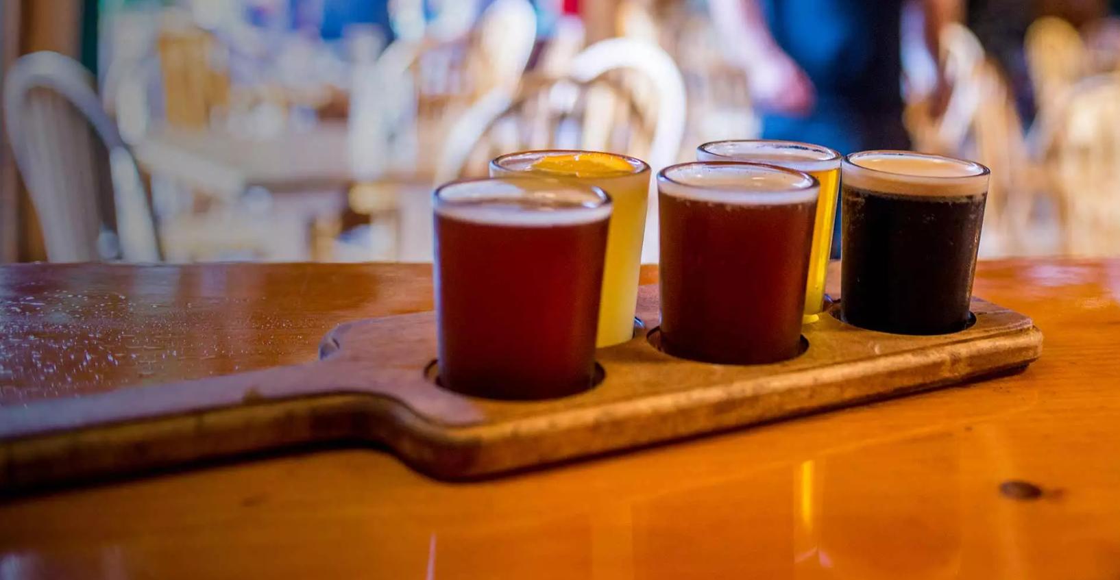 Beer tasting flight Kennebec River Brewery