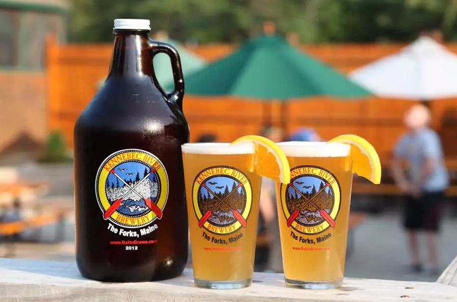 Growler and pints Kennebec River Brewery